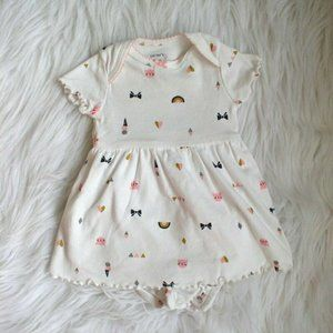 Carters Baby Girls Pink & Gold Cat Dress 3M